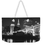 Black And White Panorama Of Cleveland Weekender Tote Bag