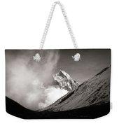 Black And White Photo Of Snow Peak In Nepal Weekender Tote Bag