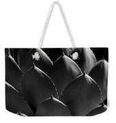 Black And White Photographic Detail Of California Cabbage Cactus Agave Weekender Tote Bag