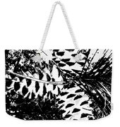 Black And White Pine Cone Weekender Tote Bag