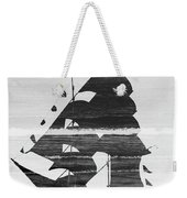 Black And White Pirate Ship Against The Sea And Crushing Waves. Double Exposure Weekender Tote Bag
