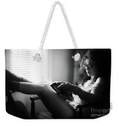 Black And White Portrait Of A Sexy Woman In Large Reading Glasse Weekender Tote Bag