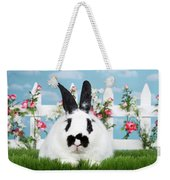 Black And White Spring Bunny Weekender Tote Bag