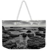 Black And White Sunset At Low Tide Weekender Tote Bag