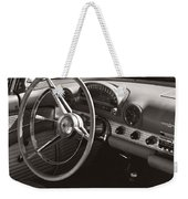 Black And White Thunderbird Steering Wheel And Dash Weekender Tote Bag
