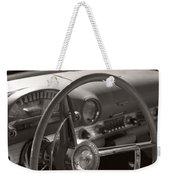 Black And White Thunderbird Steering Wheel  Weekender Tote Bag