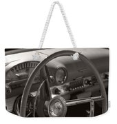 Black And White Thunderbird Steering Wheel  Weekender Tote Bag