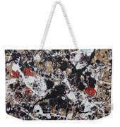 Black And White With Red And Gold Weekender Tote Bag