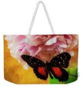 Black Butterfly On Peony Weekender Tote Bag