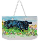 Black Cow Lying Down Painting Weekender Tote Bag