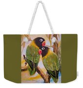 Black Faced Love Birds.  Chloe The Flying Lamb Productions  Weekender Tote Bag