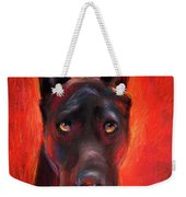 Black Great Dane Dog Painting Weekender Tote Bag