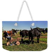 Black Horses With Sulky Plow Two  Weekender Tote Bag