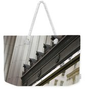 Black Ornate Trim On Marble White Building Weekender Tote Bag