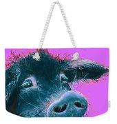 Black Pig Painting On Purple Weekender Tote Bag