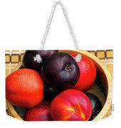 Black Plums And Nectarines In A Wooden Bowl Weekender Tote Bag