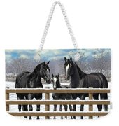 Black Quarter Horses In Snow Weekender Tote Bag by Crista Forest
