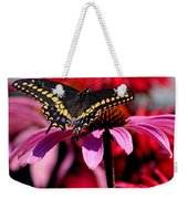 Black Swallowtail Butterfly On Coneflower Square Weekender Tote Bag