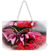 Black Swallowtail Butterfly With Coneflower And Monarda Weekender Tote Bag