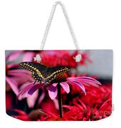 Black Swallowtail Butterfly With Coneflowers And Bee Balm Weekender Tote Bag