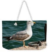 Black Tailed Gull On Dock Weekender Tote Bag