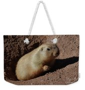Black Tailed Prairie Dog Climbing Out Of A Hole Weekender Tote Bag