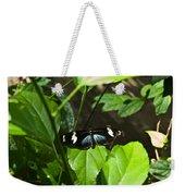 Black Tropical Butterfly Weekender Tote Bag