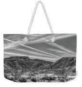 Black White Chem Trails Sky Overton Nevada  Weekender Tote Bag