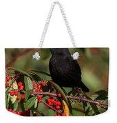 Blackbird Red Berries Weekender Tote Bag