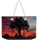 Blood Red Sunset Palm Weekender Tote Bag