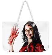 Bloody Zombie Woman With Severed Hand Weekender Tote Bag