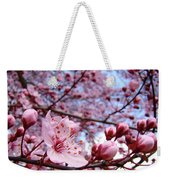Blossoms Art Blue Sky Spring Tree Blossoms Pink Giclee Baslee Troutman Weekender Tote Bag