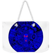 Blue Alien Mandala Weekender Tote Bag