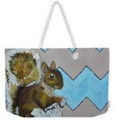 Blue And Beige Chevron Squirrel Weekender Tote Bag