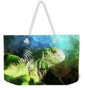 Blue And Green Iguana Profile Weekender Tote Bag