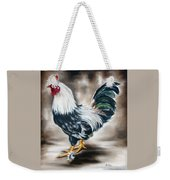 Blue And Green Rooster Weekender Tote Bag