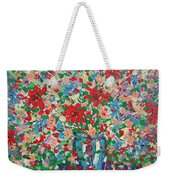 Blue And Red Flowers. Weekender Tote Bag