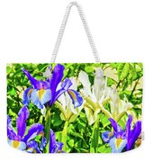 Blue And White Iris Weekender Tote Bag