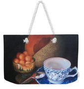 Blue And White Teacup And Melon Weekender Tote Bag