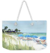 Blue Beach Umbrellas On Point Of Rocks, Crescent Beach, Siesta Key Wide-narrow Weekender Tote Bag