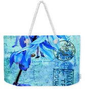 Blue Bells On Vintage 1936 Postcard Weekender Tote Bag