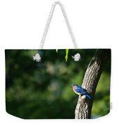 Blue Bird Perched Weekender Tote Bag