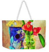 Blue Birdhouse And Red Tulips 2 Weekender Tote Bag