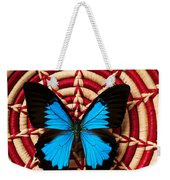 Blue Black Butterfly In Basket Weekender Tote Bag