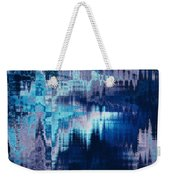 blue blurred abstract background texture with horizontal stripes. glitches, distortion on the screen broadcast digital TV satellite channels Weekender Tote Bag