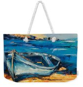 Blue Boat On The Mediterranean Beach Weekender Tote Bag