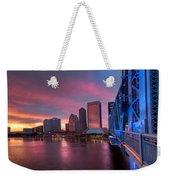 Blue Bridge Red Sky Jacksonville Skyline Weekender Tote Bag