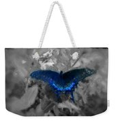 Blue Butterfly In Charcoal And Vibrant Aqua Paint Weekender Tote Bag