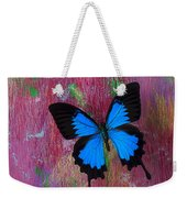 Blue Butterfly On Colorful Wooden Wall Weekender Tote Bag