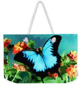 Blue Butterfly On Lantana Plant Oil Painting Weekender Tote Bag